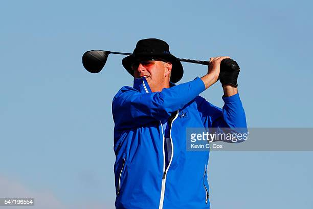 Sandy Lyle of Scotland tees off on the 6th hole during the first round on day one of the 145th Open Championship at Royal Troon on July 14 2016 in...