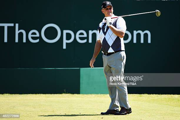 Sandy Lyle of Scotland watches his tee shot on the first hole during the first round of The 143rd Open Championship at Royal Liverpool on July 17...