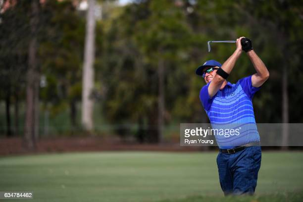 Sandy Lyle plays a bunker shot on the 11th hole during the second round of the PGA TOUR Champions Allianz Championship at The Old Course at Broken...