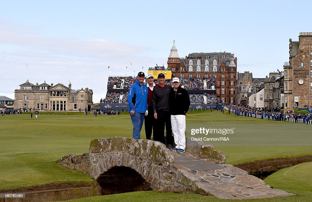 <a gi-track='captionPersonalityLinkClicked' href=/galleries/search?phrase=Sandy+Lyle&family=editorial&specificpeople=214683 ng-click='$event.stopPropagation()'>Sandy Lyle</a>, Sir <a gi-track='captionPersonalityLinkClicked' href=/galleries/search?phrase=Bob+Charles&family=editorial&specificpeople=754703 ng-click='$event.stopPropagation()'>Bob Charles</a>, <a gi-track='captionPersonalityLinkClicked' href=/galleries/search?phrase=David+Duval&family=editorial&specificpeople=202132 ng-click='$event.stopPropagation()'>David Duval</a> and <a gi-track='captionPersonalityLinkClicked' href=/galleries/search?phrase=Justin+Leonard&family=editorial&specificpeople=194762 ng-click='$event.stopPropagation()'>Justin Leonard</a> smile for a photo on Swilcan Bridge during the Champion Golfers' Challenge ahead of the 144th Open Championship at The Old Course on July 15, 2015 in St Andrews, Scotland.