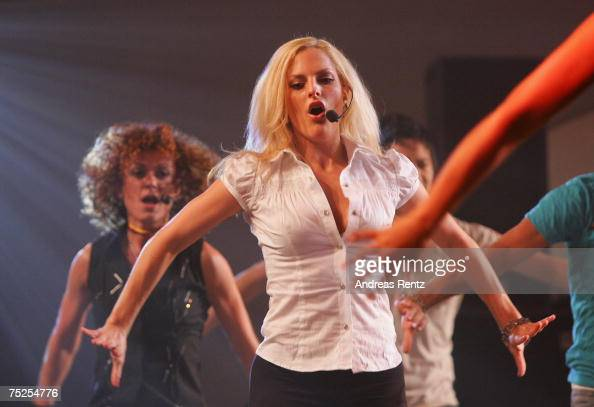 Sandy Moelling of the pop group 'No Angels' performs on stage during the summer reception of German President Horst Koehler at Bellevue Castle on...