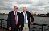 Sandy Outley and Bob Oatley pose during the America's Cup challenger announcement at Overseas Passenger Terminal on October 1 2013 in Sydney Australia