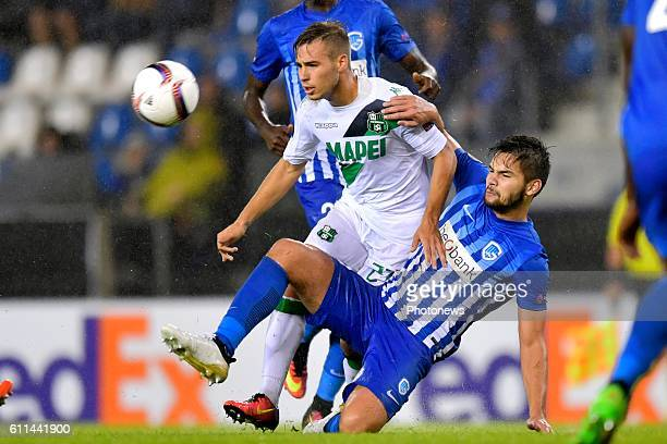 Sandy Walsh defender of KRC Genk battles for the ball with Federico Ricci midfielder of US Sassuolo Calcio during the Europa League game between KRC...