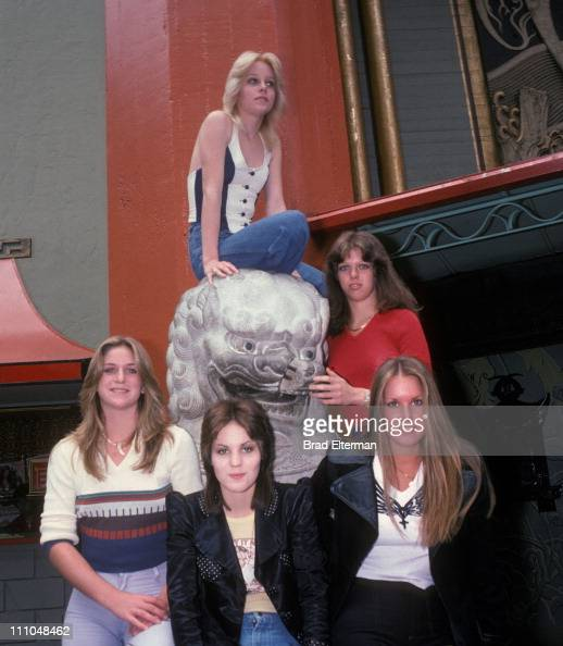 Sandy West Joan Jett Cherie Currie Lita Ford and Jackie Fox of The Runaways pose for photos at Grauman's Chinese Theatre circa 1977 in Hollywood...
