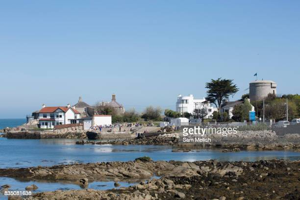 Sandycove Beach on 08th April 2017 in County Dublin Republic of Ireland Sandycove is a popular seaside resort in County Dublin