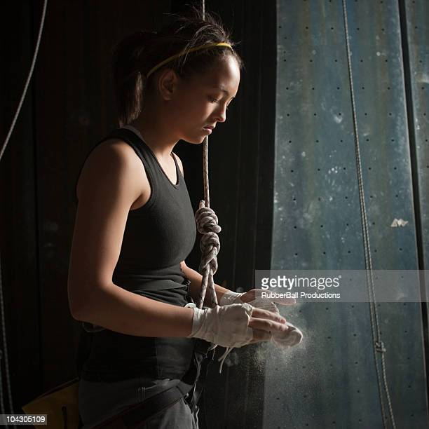 Sandy,Utah,USA,Teenage girl (14-15) preparing to climb