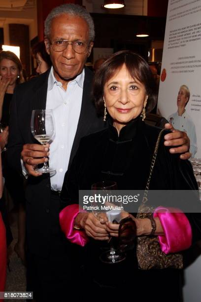 Sanford Allen and Madhur Jaffrey attend Epicurious 15th Anniversary Dinner at Eataly on September 29 2010 in New York