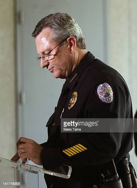 Sanford Police Department Chief Bill Lee speaks while announcing he will temporarily step down in the wake of the Trayvon Martin killing on March 22...