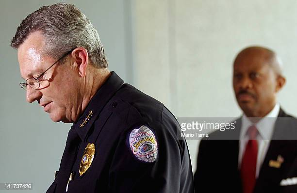 Sanford Police Department Chief Bill Lee speaks while announcing he will temporarily step down in the wake of the Trayvon Martin killing as Sanford...