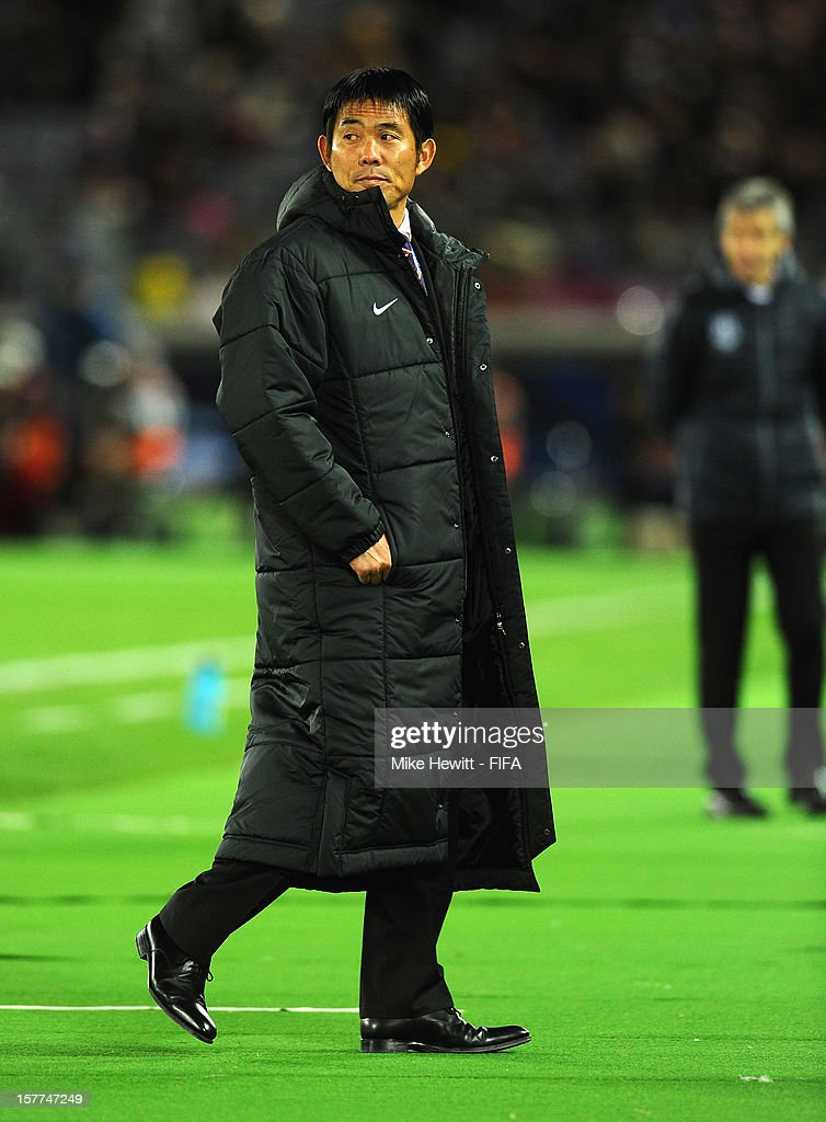 Sanfrecce Hiroshima coach Hajime Moriyasu looks on during the FIFA Club World Cup match between Sanfrecce Hiroshima and Auckland City at International Stadium Yokohama on December 6, 2012 in Yokohama, Japan.