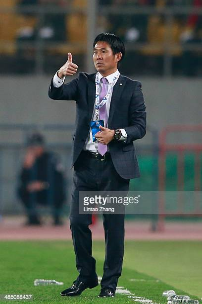 Sanfrecce Hiroshima head coach Hajime Moriyasu reacts during the AFC Champions match between Sanfrecce Hiroshima and Beijing Guo'an at Workers...