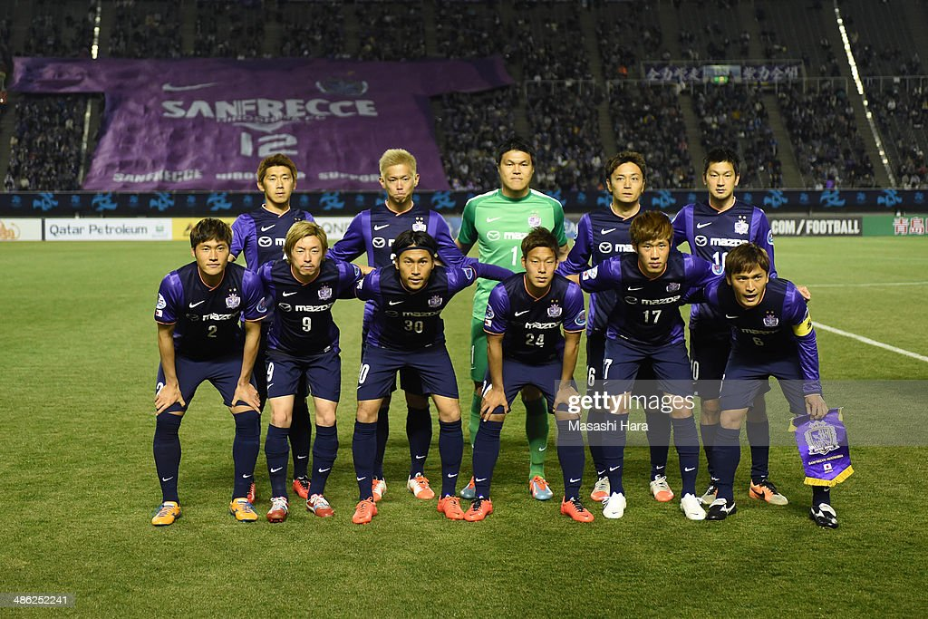 Sanfrecce Hiroshima players pose for photograph prior to the AFC Champions League Group F match between Sanfrecce Hiroshima and Central Coast Mariners at Edion Stadiam Hiroshima on April 23, 2014 in Hiroshima, Japan.