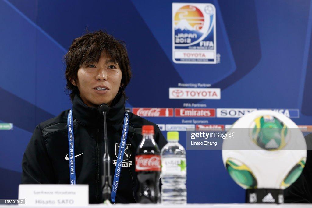 Sanfrecce Hiroshima team captain Hisato Sato answers a question during the Sanfrecce Hiroshima Press Conference at Toyota Stadium on December 11 2012...