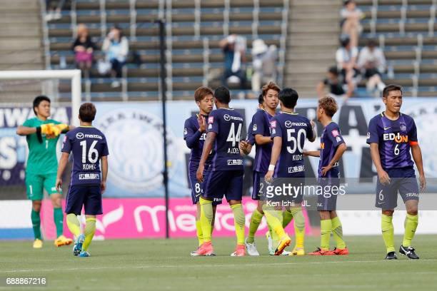 Sanfrecce Hirosihma players react after the scoreless draw in the JLeague J1 match between Sanfrecce Hiroshima and Jubilo Iwata at Edion Stadium...