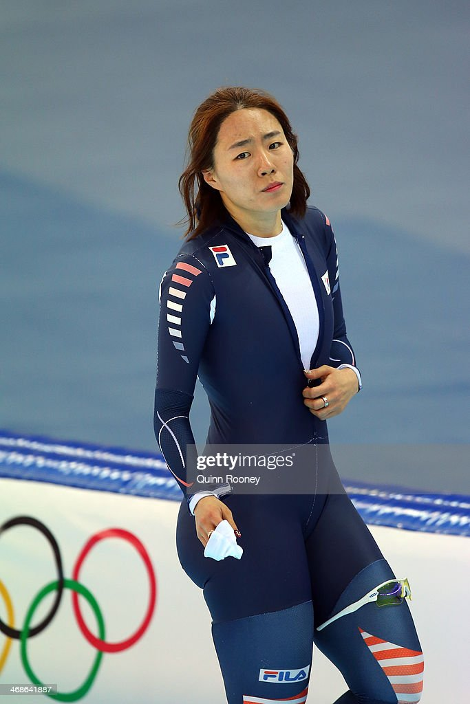 Sang Hwa Lee of South Korea celebrates winning the gold medal during the Women's 500m Race 2 of 2 Speed Skating event during day 4 of the Sochi 2014 Winter Olympics at Adler Arena Skating Center on February 11, 2014 in Sochi, Russia.