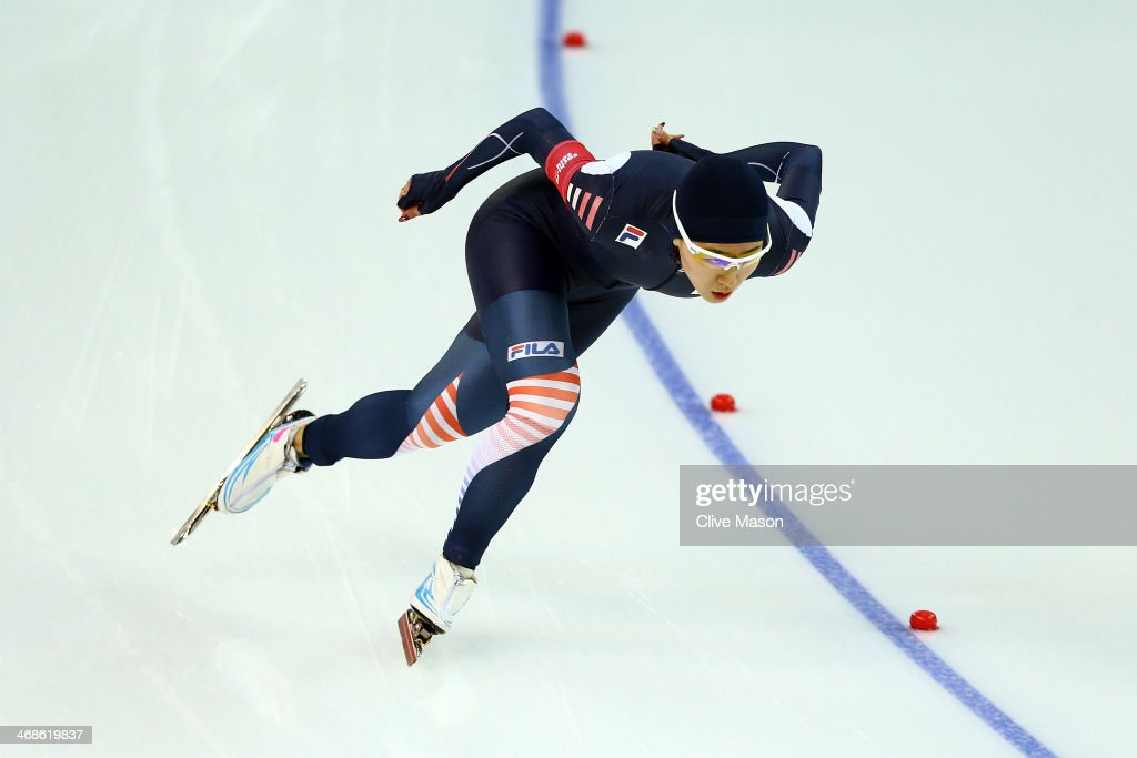 Sang Hwa Lee of South Korea competes during the Women's 500m Race 1 of 2 Speed Skating event during day 4 of the Sochi 2014 Winter Olympics at Adler Arena Skating Center on February 11, 2014 in Sochi, Russia.