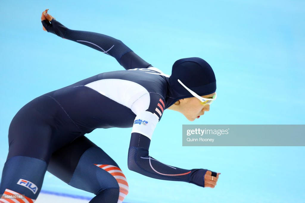 Sang Hwa Lee of South Korea competes during the Women's 500m Race 2 of 2 Speed Skating event during day 4 of the Sochi 2014 Winter Olympics at Adler Arena Skating Center on February 11, 2014 in Sochi, Russia.