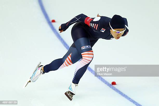 Sang Hwa Lee of South Kroea competes during the Women's 1000m Speed Skating event on day 6 of the Sochi 2014 Winter Olympics at Adler Arena Skating...