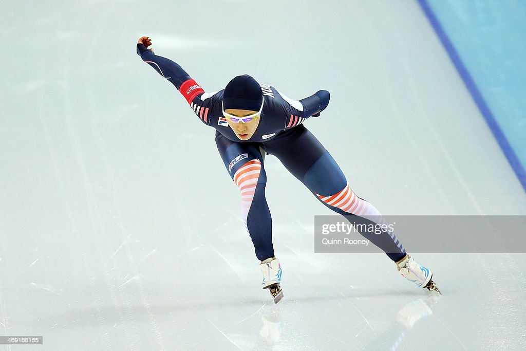 Sang Hwa Lee of South Kroea competes during the Women's 1000m Speed Skating event on day 6 of the Sochi 2014 Winter Olympics at Adler Arena Skating Center on February 13, 2014 in Sochi, Russia.