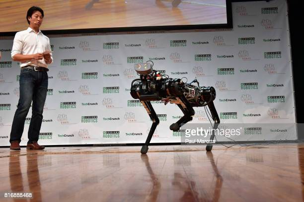 Sangbae Kim gives a demonstration of Cheetah 3 with Jordan Crook at the TechCrunch Sessions Robotics at Kresge Auditorium on July 17 2017 in...