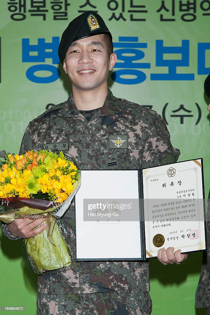 Sangchoo (237 AKA Sangchoo) of South Korean boy band Mighty Mouth attends during Appointed As Honorary Ambassador For Military Manpower Administration on March 27, 2013 in Seoul, South Korea.