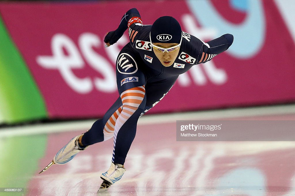Sang-Hwa Lee of South Korea skates in the ladies 500 meter 2nd race during the Essent ISU Long Track World Cup at the Utah Olympic Oval on November 16, 2013 in Salt Lake City, Utah. Lee broke her own world record with a time of 36:36.