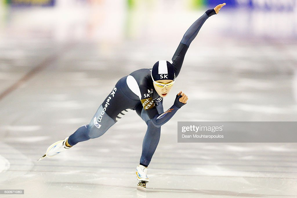 Sang-Hwa Lee of South Korea competes in the Ladies 500m race during day 1 of the ISU World Cup Speed Skating held at Thialf Ice Arena on December 11, 2015 in Heerenveen, Netherlands.