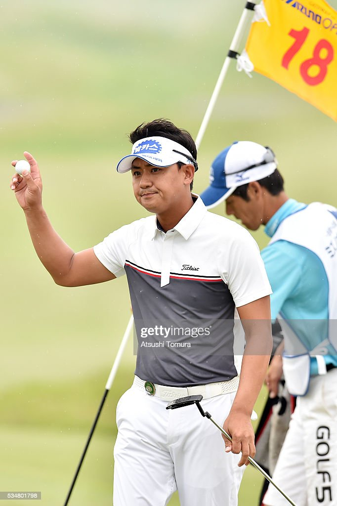 Sang-Hyun Park of South Korea reacts during the 3rd round of the Mizuno Open at JFE Setonaikai Golf Club on May 28, 2016 in Okayama, Japan.