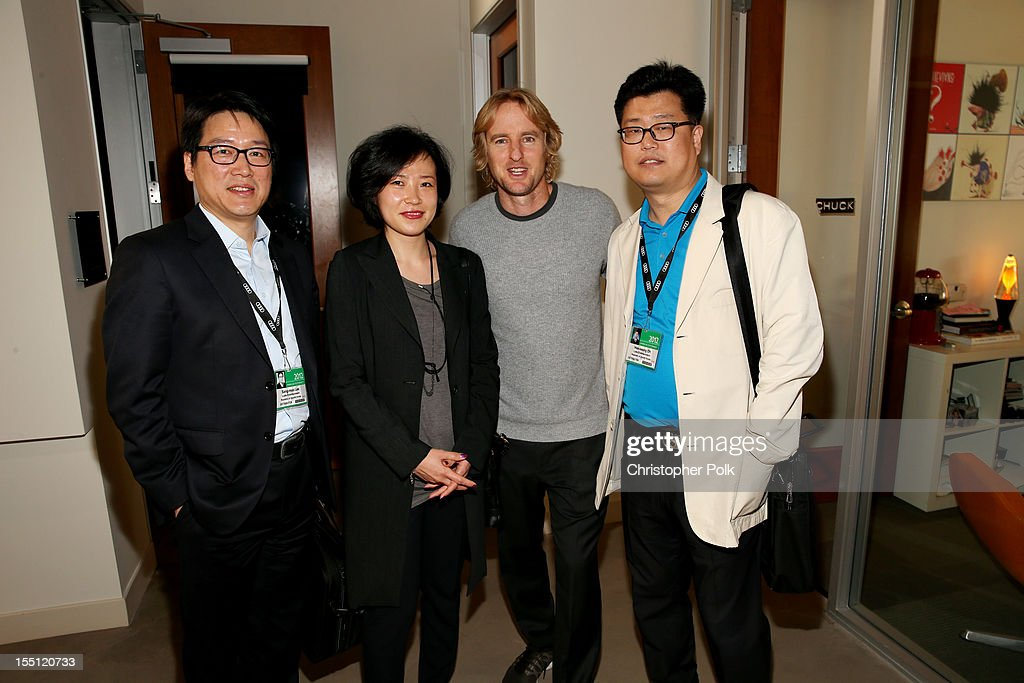 Sang-moo Lee, Lotte, Korea; Juyoung Park, Lotte, Korea; <a gi-track='captionPersonalityLinkClicked' href=/galleries/search?phrase=Owen+Wilson&family=editorial&specificpeople=202027 ng-click='$event.stopPropagation()'>Owen Wilson</a>, Star of 'Turkeys' (Voice Talent); and Hee-seong Oh, Lotte, Korea at RealFX on November 1, 2012 in Santa Monica, California.