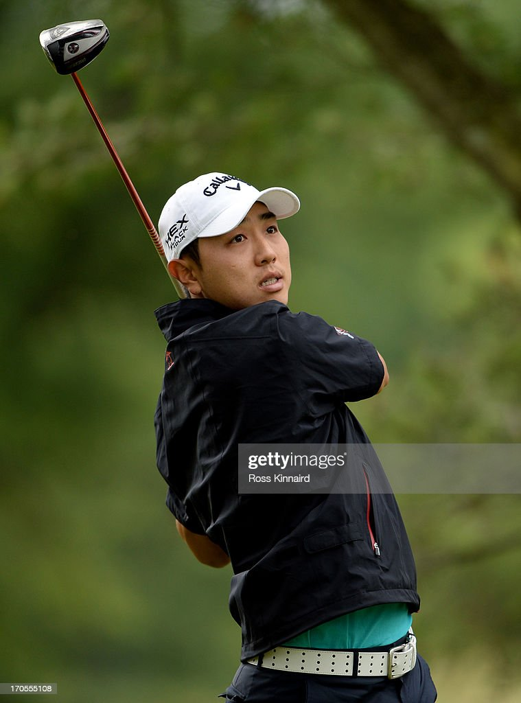 Sang-Moon Bae of Korea hits his tee shot on the fifth hole during a continuation of Round One of the 113th U.S. Open at Merion Golf Club on June 14, 2013 in Ardmore, Pennsylvania.