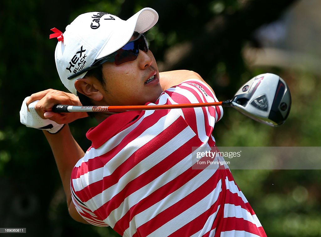 Sang-Moon Bae of South Korea hits a shot during the final round of the 2013 HP Byron Nelson Championship at the TPC Four Seasons Resort on May 19, 2013 in Irving, Texas.