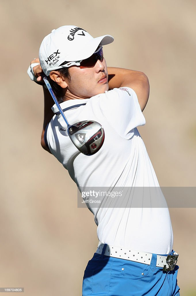 Sang-Moon Bae of South Korea hits a tee shot on the 11th hole during the second round of the Humana Challenge In Partnership With The Clinton Foundation at La Quinta Country Club on January 18, 2013 in La Quinta, California.
