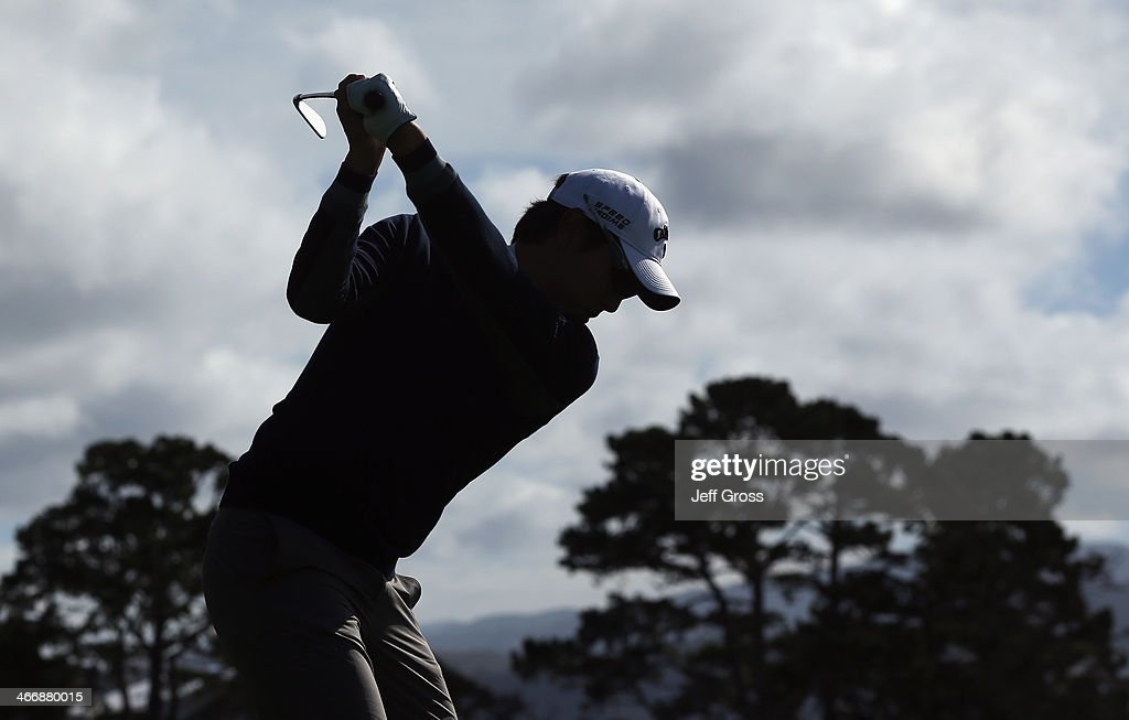 Sang-Moon Bae of South Korea hits a tee shot on the fifth hole during a practice round for the AT&T Pebble Beach National Pro-Am at Pebble Beach Golf Links on February 4, 2014 in Pebble Beach, California.