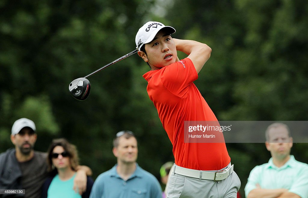 Sang-Moon Bae of South Korea plays his shot from the 18th tee during the second round of The Barclays at The Ridgewood Country Club on August 22, 2014 in Paramus, New Jersey.