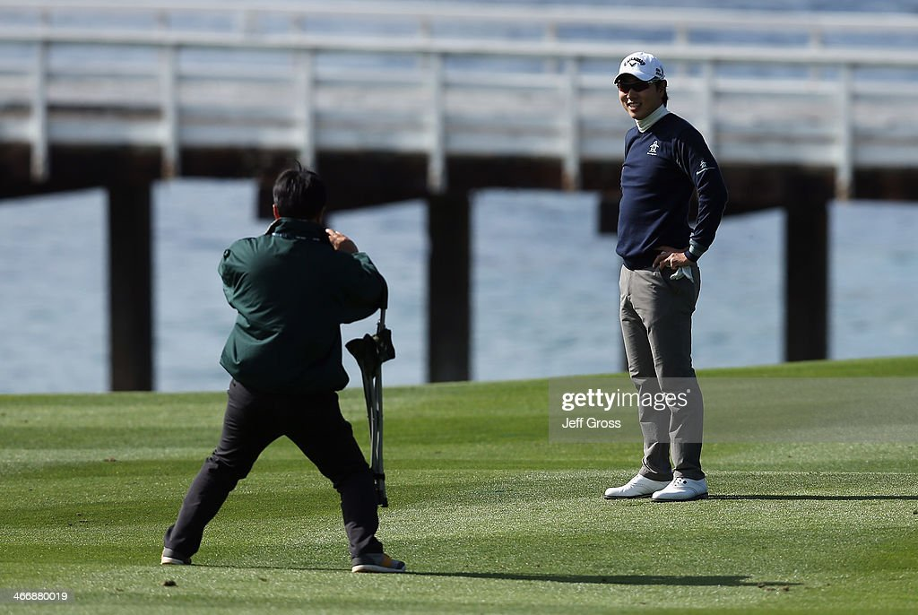 Sang-Moon Bae of South Korea poses for a picture during a practice round for the AT&T Pebble Beach National Pro-Am at Pebble Beach Golf Links on February 4, 2014 in Pebble Beach, California.