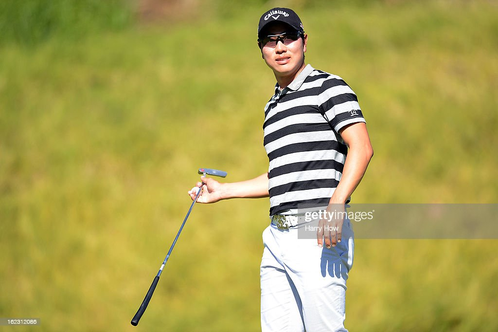 Sang-Moon Bae of South Korea reacts as he leaves the fifth green during the second round of the Northern Trust Open at the Riviera Country Club on February 15, 2013 in Pacific Palisades, California.