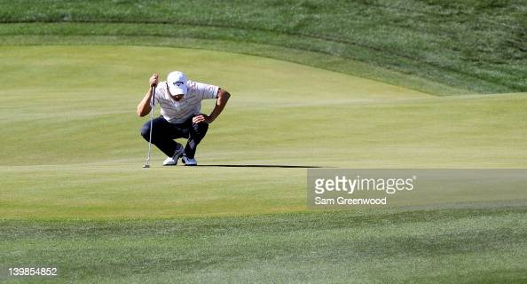 Sangmoon Bae of South Korea reacts on the 14th hole during the quarterfinal round of the World Golf ChampionshipsAccenture Match Play Championship at...