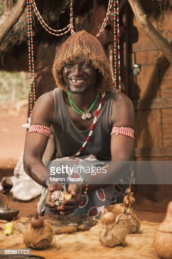 Sangoma (traditional healer) throwing bones.