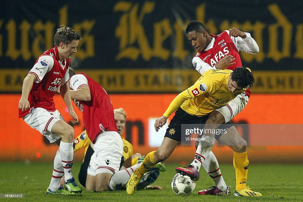 Sanharib Malki of Roda JC (2R), Giliano Wijnaldum of AZ (R) during the Dutch Eredivisie match between Roda JC Kerkrade and AZ Alkmaar at the Parkstad Limburg Stadium on february 16, 2013 in Kerkrade, The Netherlands