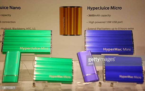 Sanho's newly developed external batteries for iPhone and iPad HyperJuice Mini Micro and Nano are displayed at the exhibition hall of the...
