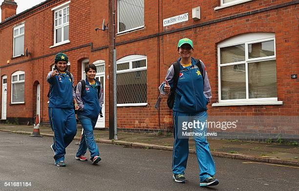 Sania Khan Anam Amin and Nahida Khan of Pakistan Women arrive ahead of the 1st Royal London ODI match between England Women and Pakistan Women at...