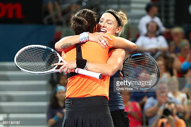 Sania Mirza of India and Bethanie MattekSands of the USA celebrate winning the Women's Doubles Final against Ekaterina Makarova of Russia and Elena...