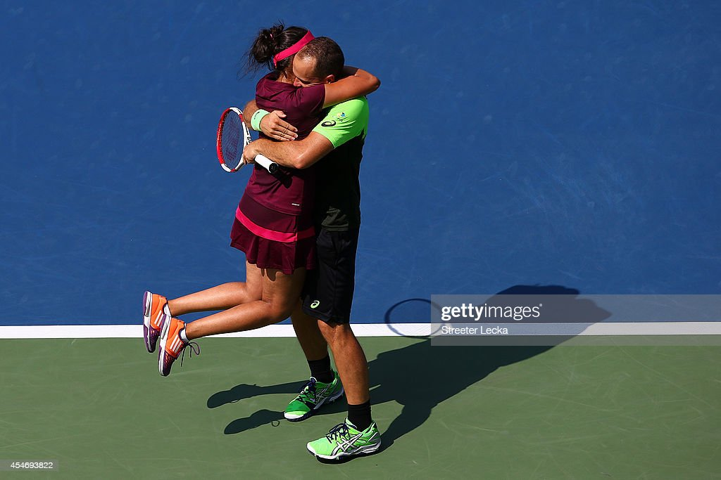 Sania Mirza of India and Bruno Soares of Brazil celebrate match point after defeating Santiago Gonzalez of Mexico and Abigail Spears of the United States to win the mixed doubles final on Day Twelve of the 2014 US Open at the USTA Billie Jean King National Tennis Center on September 5, 2014 in the Flushing neighborhood of the Queens borough of New York City.