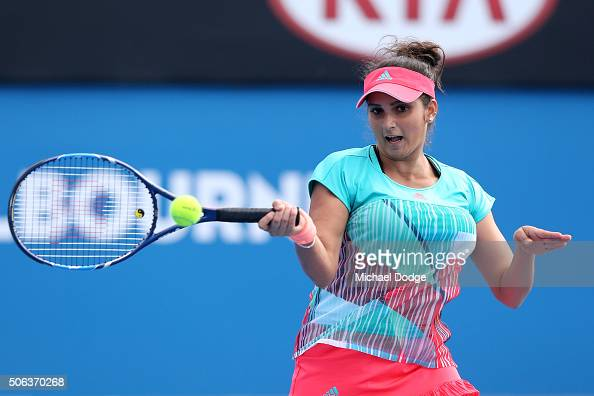 Sania Mirza of India and Ivan Dodig of Croatia during their first round mixed doubles match against Ajla Tomljanovic and Nick Kyrgios of Australia...