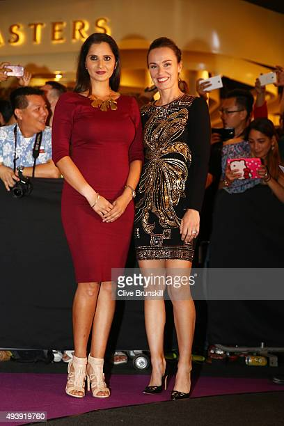 Sania Mirza of India and Martina Hingis of of Switzerland attend the Official Draw Ceremony prior to the BNP Paribas WTA Finals at The Shoppes at...