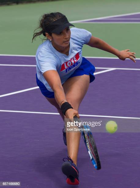 Sania Mirza practices during the 2017 Miami Open in Key on March 23 at the Tennis Center at Crandon Park in Biscayne FL