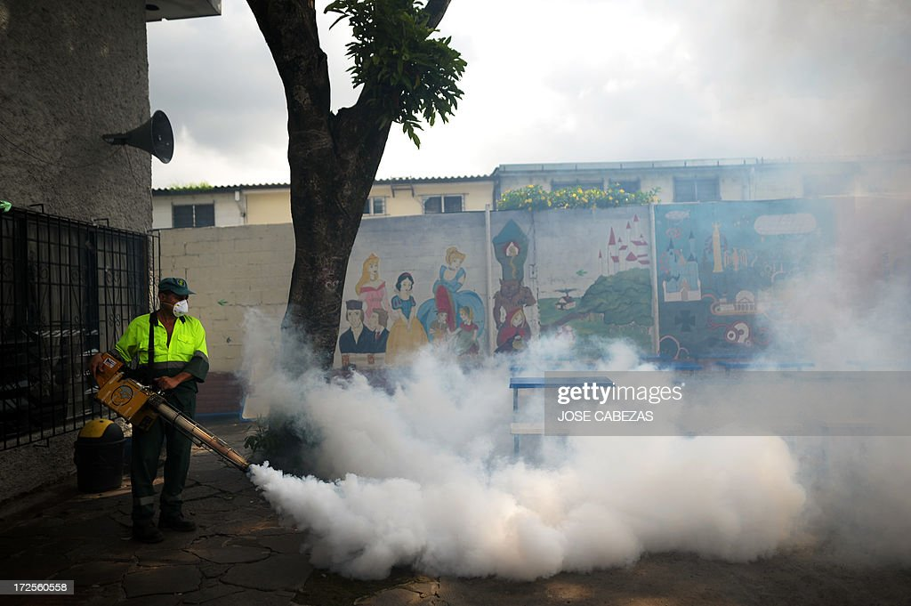A sanitation worker fumigates against the Aedes aegypti mosquito, vector of the dengue fever, a the 5 de Noviembre neighborhood in San Salvador, El Salvador on July 3, 2013. The government declared an orange alert for dengue fever in 18 districts of El Salvador. AFP PHOTO/ Jose CABEZAS