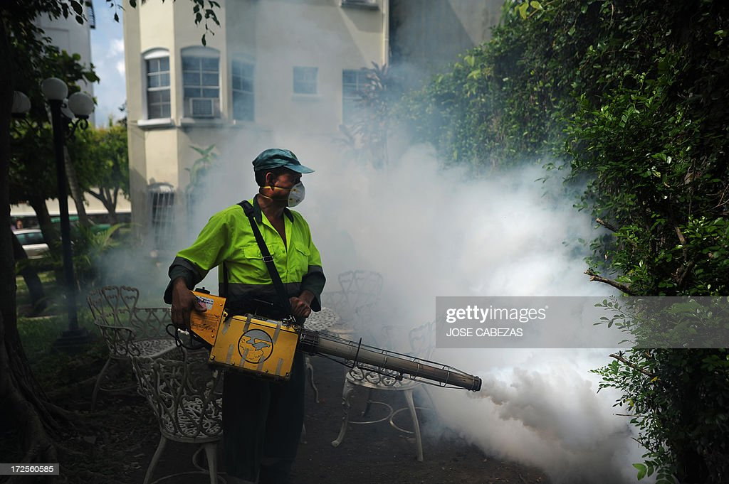A sanitation worker fumigates against the Aedes aegypti mosquito, vector of the dengue fever, a the Villa Olimpica neighborhood in San Salvador, El Salvador on July 3, 2013. The government declared an orange alert for dengue fever in 18 districts of El Salvador. AFP PHOTO/ Jose CABEZAS
