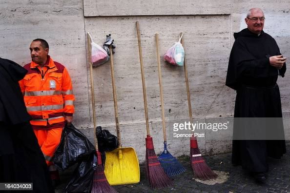 A sanitation worker waits to begin cleaning following the Inauguration Mass for Pope Francis in St Peter's Square on March 19 2013 in Vatican City...