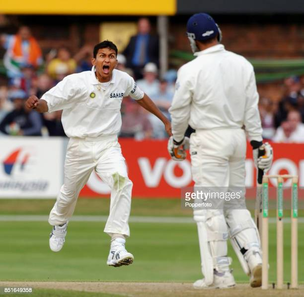 Sanjay Bangar of India celebrates after claiming the wicket of Mark Butcher of England during the Third npower Test match between England and India...